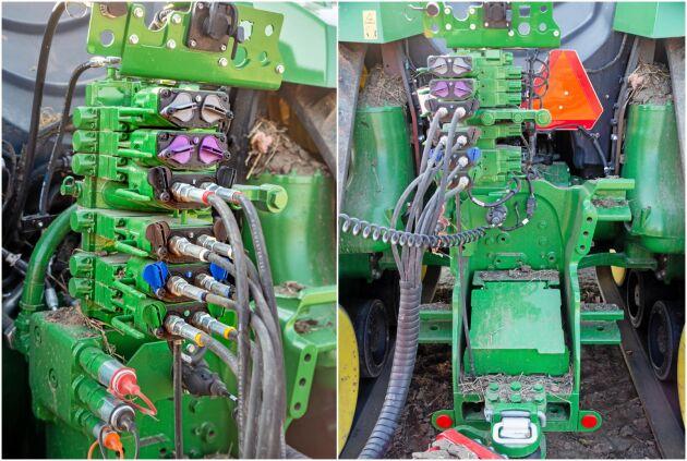 Det behövs rejäla grejor för att överföra kraften till redskapen. Dragbom av kategori 5 typ som klarar en vertikal belastning 5440 kilo på med en kopplingspinne på 70 millimeter. Detta är en traktor som skall dra och därför är trepunktslyft tillbehör.