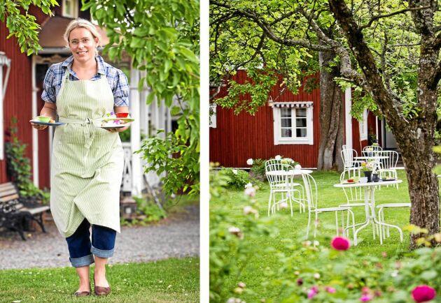 Sara Bodin Olsson i sitt trädgårdscafé hemma i värmländska Kil, som blivit en succé.