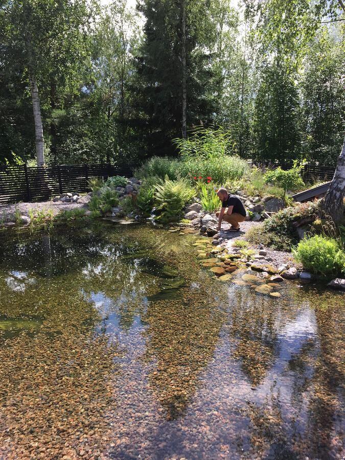 Henrik Thunborg uppskattar att baddammen lockar till sig djur som grodor, salamandrar, trollsländor och fåglar. Foto: Henrik Thunborg
