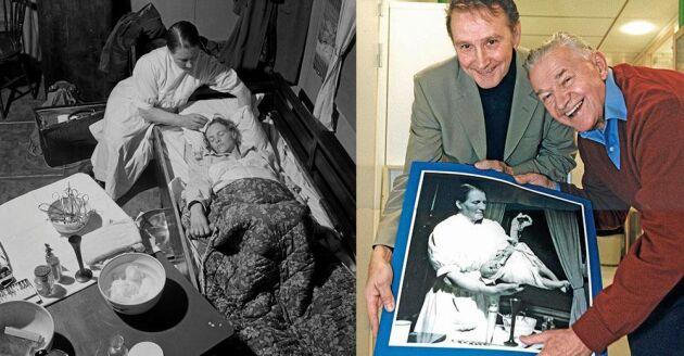 """Året var 1945. Hans Öhlunds mamma Jenny ligger i födslovåndor (till vänster). 2012 återförenas """"ödemarksbabyn"""" Hans och fotografen Lennart Nilsson."""