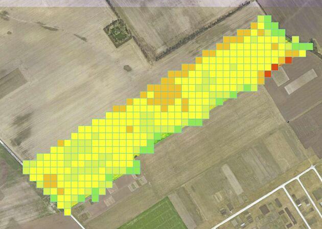 Genom att dela upp fältet i fyrkanter får man en generaliserad bild av fältet.