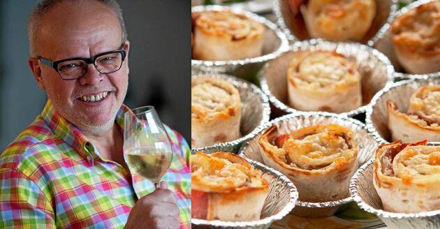 Håkan Larsson tipsar om bästa tilltugget till ett glas vitt – ostgratinerade tunnbrödssnittar.