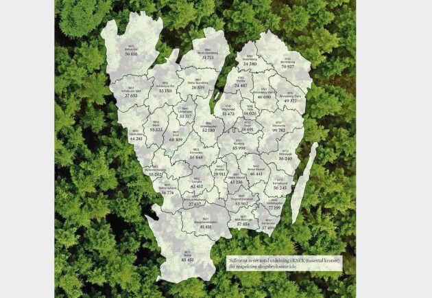 Södras förslag till delning av vinsten 2018 på de 36 olika skogsbruksområdena.