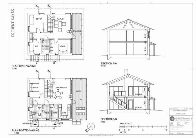 Ritning över planlösningen för de 140 kvadratmeter stora husen i två plan.