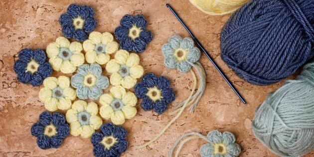 Restgarnsprojekt: Virka ett hav av puffiga blommor