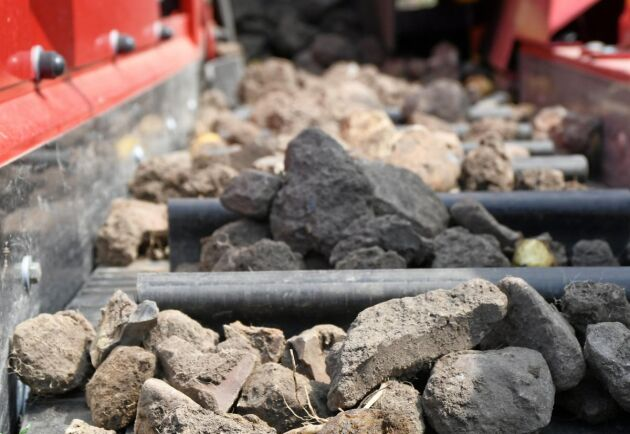 Avrensbandet med bortsorterad sten från Airsep-frånskiljningen.