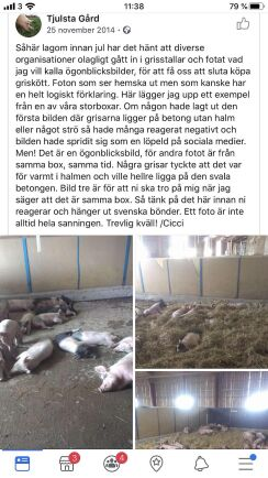 Inlägget som publicerades strax innan julen 2014 av Cecilia Olander på Tjulsta gård.