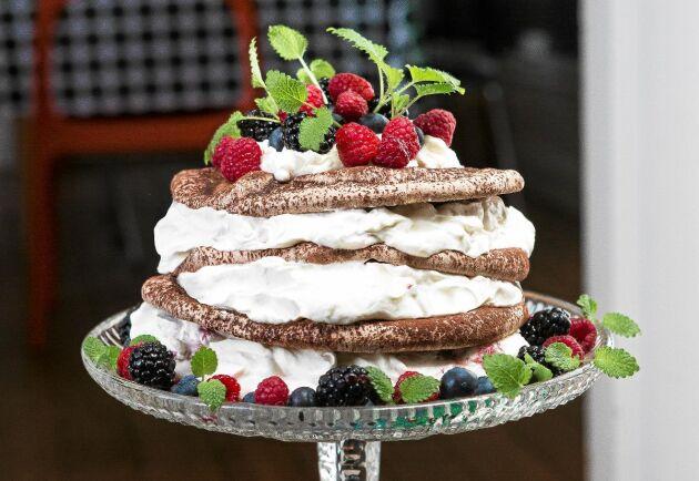 Drömtårta. Denna underbara tårta tar visserligen lite tid att göra men det är inte alls svårt.