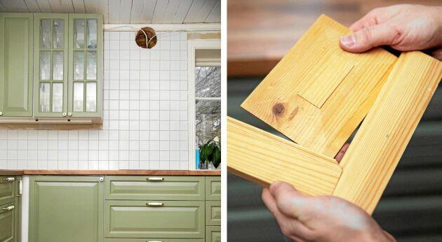 Skåpluckorna i det snart färdiga köket, har de både ritat och snickrat själva.