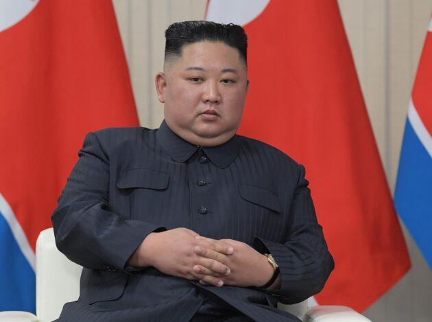 Nordkoreas högste ledare Kim Jong-un fångad på bild under förhandlingar med Ryssland i slutet på april.