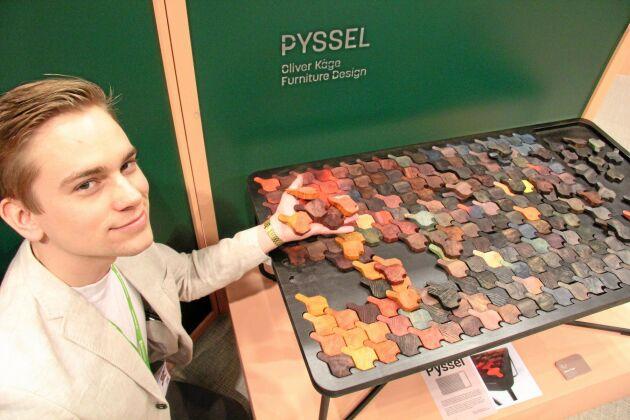 """Oliver Kåge studerar möbeldesign på Carl Malmstensskolan och har tagit fram furubordet """"Pyssel"""". Genom att lägga de betsade furubitarna kan bordsytan ständigt förnyas."""