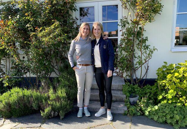 Madeleine Nilsson till vänster och Alexandra Nilsson till höger, tillsammans driver de Gröna butiken på Orelund.
