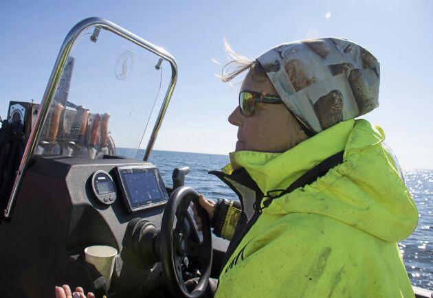 Vissa dagar stannar Anna Carin Westling ute på havet flera dagar i sträck. Sover på kobbar och i båten. Jaktområdet är enormt, ska hon vittja kustfiskarnas alla laxfällor tar turen 16 timmar.