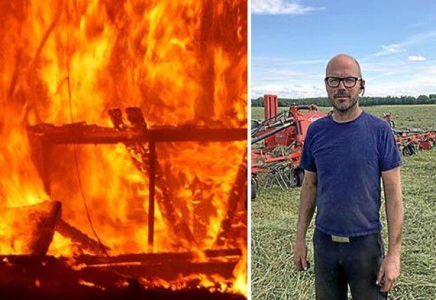 Branden förstörde även byggnad och maskin till ett värde av cirka 3 miljoner kronor enligt Thomas Larsson.