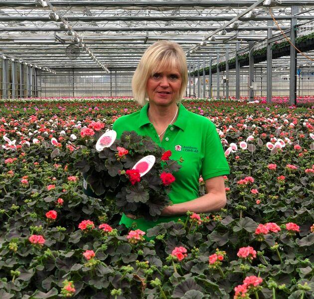 Maria Lundgren på Arvidssons i Fjärås är glad över att företaget är en av de utvalda odlarna i Sverige som får odla den.