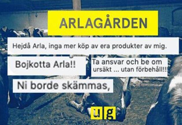 Många arga kommentarer mot Arla i sociala medier.