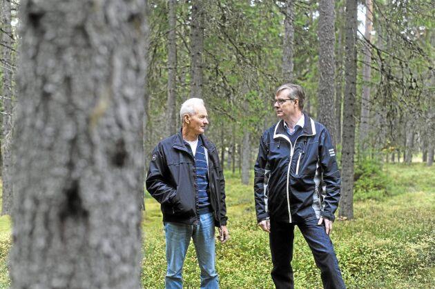 Skogsbrukarna Lars Göran Mårtensson och Per-Olof Löfgren.