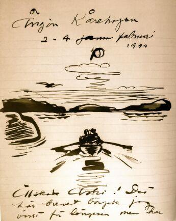 Älskade Astri. Så skriver Evert Taubes på teckning som följer med ett brev till hustrun februari 1944.