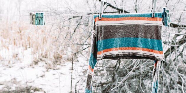 Ut med tvätten: Snö, is och kyla är bästa torkvädret!