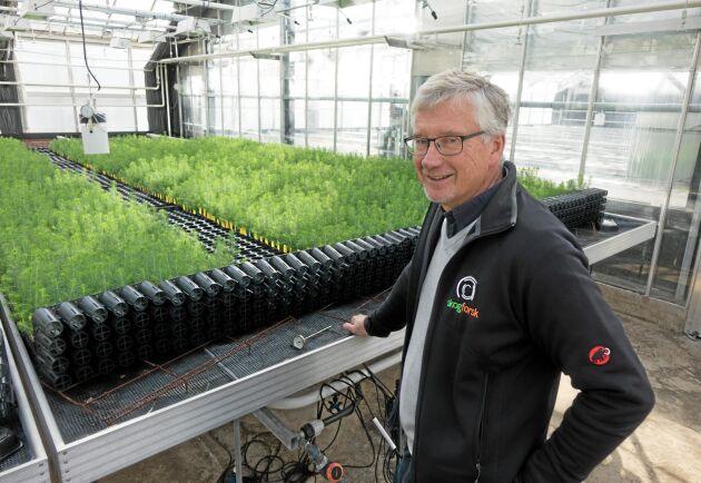 """""""Det är klart att det är en bra affär att köpa plantor som ger 5 hektars produktion på bara 4 hektar, speciellt som markpriserna ser ut"""", säger Bo Karlsson."""