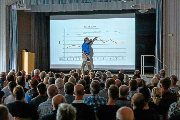Intresset är stort även i Främmestad när Karl Hedin kommer på besök. Drygt 200 personer har betalat en hundralapp var i entré för att lyssna på föredraget.