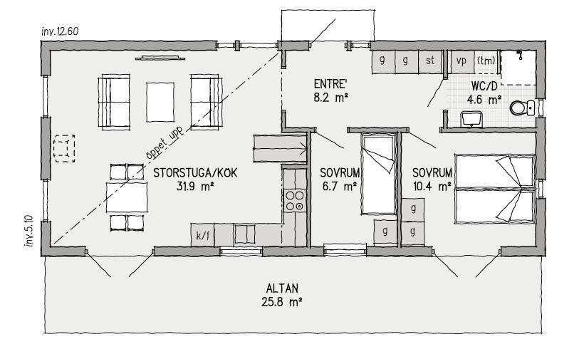 Nedre våningens plan. Andra våningen på Ladan har loft.