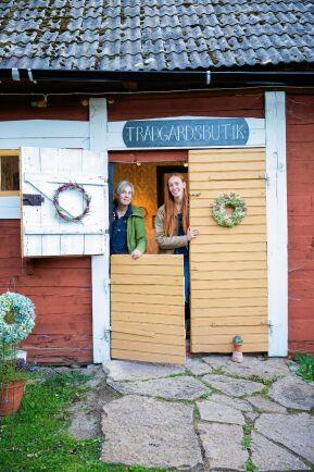 I den lilla trädgårdsbutiken i lagården säljer de redskap plus buketter, snittblommor, plantor och lökar/knölar och fröer efter säsong.