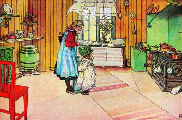 Carl Larssons Köket visar att den fasta köksinredningen var sparsam runt förrförra sekelskiftet. Förutom skafferiet fanns inga fasta köksskåp. Diskbänken var ett enkelt bord med förhänge av tyg. Järnspis och stående panel är andra tidstypiska detaljer.