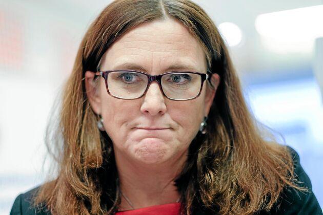 Härtill nödd och tvungen. EU:s handelskommissionär Cecilia Malmström anser att USA tvingar EU att införa egna strafftullar.