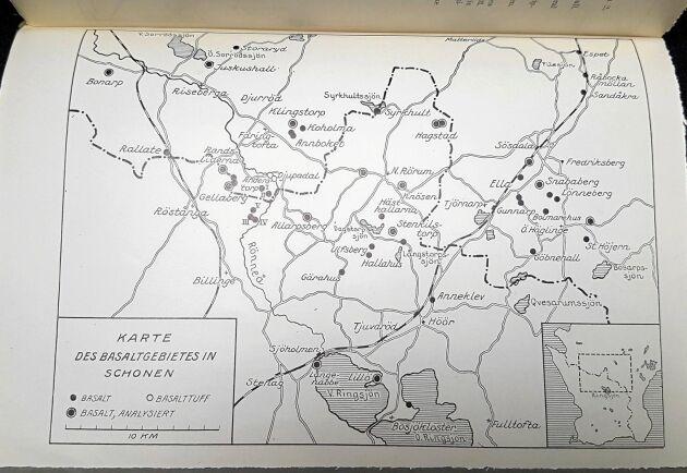 """En tysk vulkankarta över området i Skåne, ur boken """"Zur geologie der Südschwedishen basalte"""", från år 1934."""