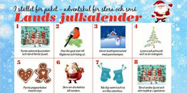 Lands adventskalender: Julmys för stora och små – helt utan prylar