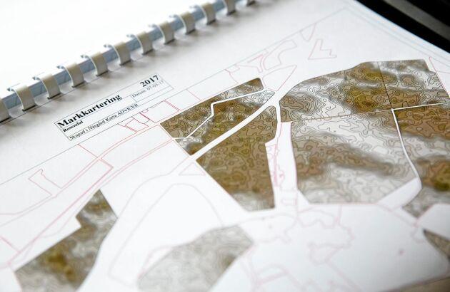 Jordartskartan visar hur stora variationerna är i lerhalt på fälten.
