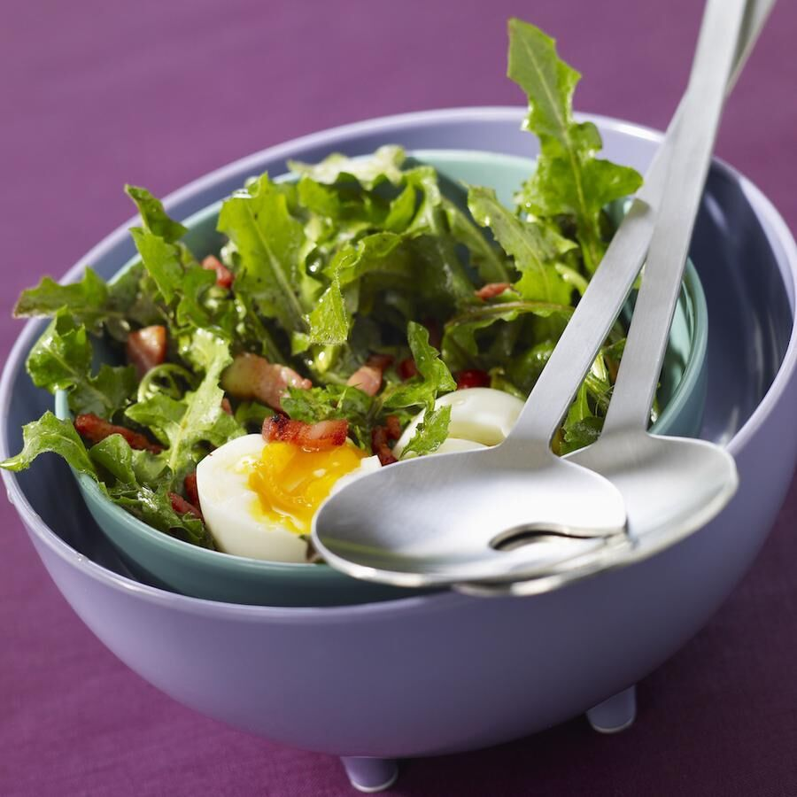Dandelion and diced bacon salad with a soft-boiled egg