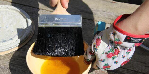 Viktoria målar huset hållbart med miljövänlig linoljefärg