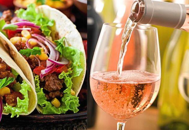 Vin och tacos funkar bra ihop. Särskilt rosé.