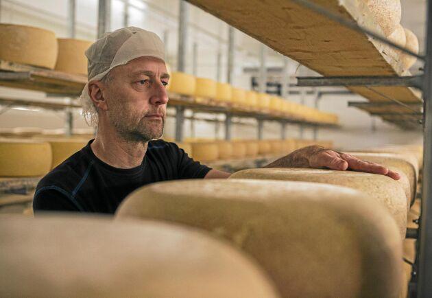 Pär Hellström är ostmästaren och övervakar mognadsprocessen noggrant.