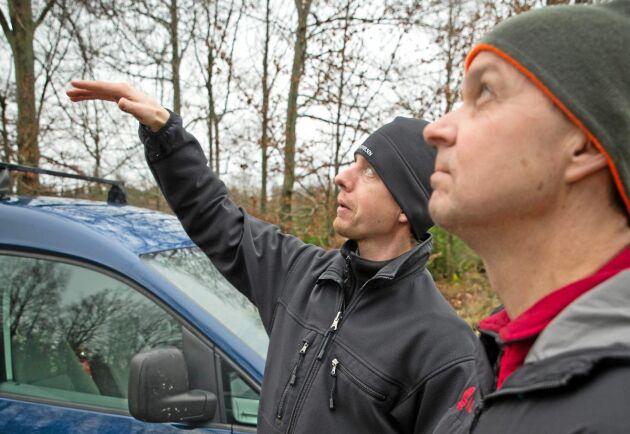 """Prova på. """"Syftet är att i alla fall att 300 skogsägare och entreprenörer ska få pröva på tekniken i år och nästa år"""", säger Anton Holmström från Skogsstyrelsen. Här instruerar han Jan-Erik Gustafsson från Vida."""