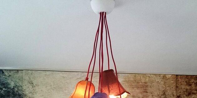 Gamla lampskärmar blir mysig taklampa