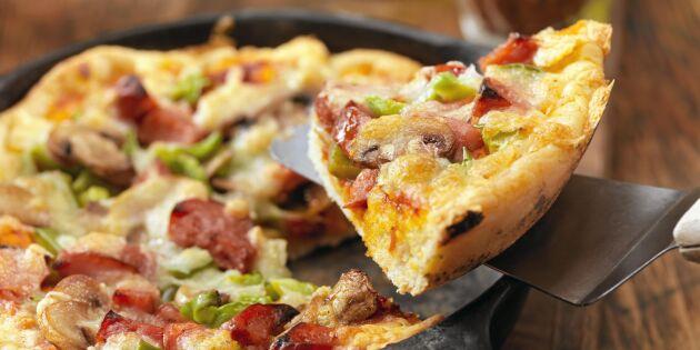 Frasig panpizza i gjutjärnspanna