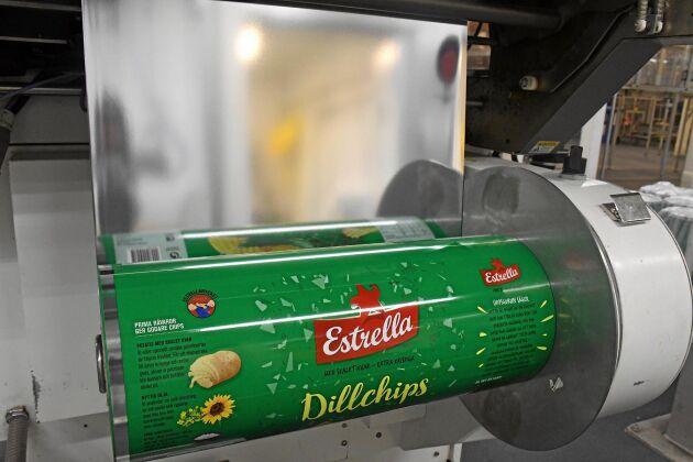 Cirka 15 000 ton chips produceras det varje år vid fabriken i Angered.