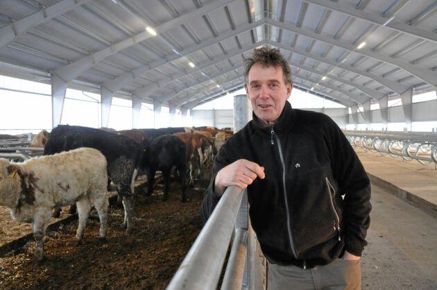 Stefan Gård inne i sin nya liggbåshall. Att bygga ett nytt, flexibelt stall är ett beslut som Stefan Gård har fattat med tanke på nästa generation. Möjligheten att växla mellan kött och mjölk skapar förutsättningar för lönsamhet över tid.