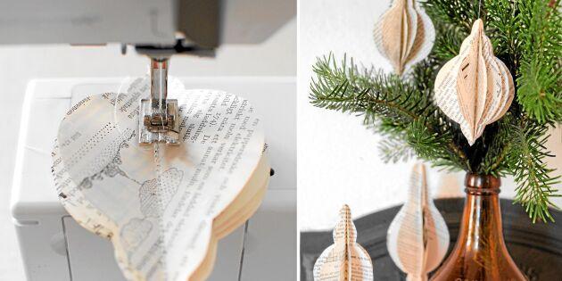 Så syr du vackert papperspyssel av bokblad