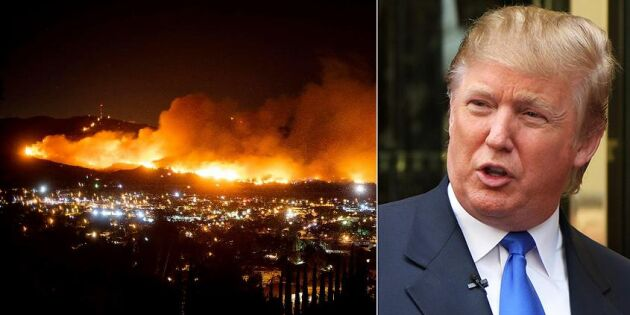 Trump hotar dra in nödhjälp till branddrabbade