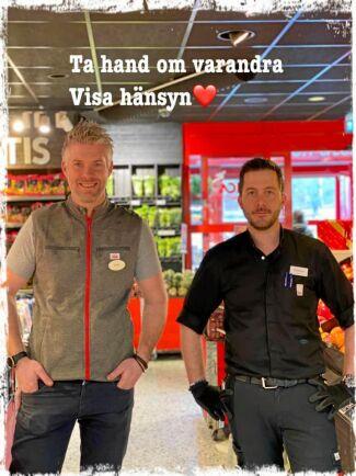 Erik Ödergren och Roberto Logiodice på Ica Supermarket Sävja nära Uppsala.
