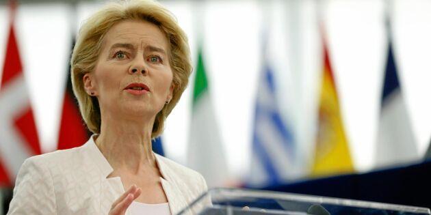 von der Leyen skriver historia som första kvinna att leda EU-kommissionen