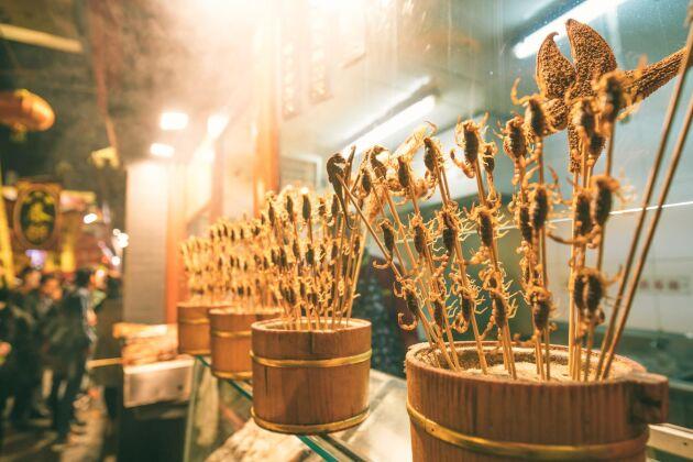 Friterade skorpioner i Kina. Det som är otänkbar föda i en kultur kan vara delikatess i en annan.