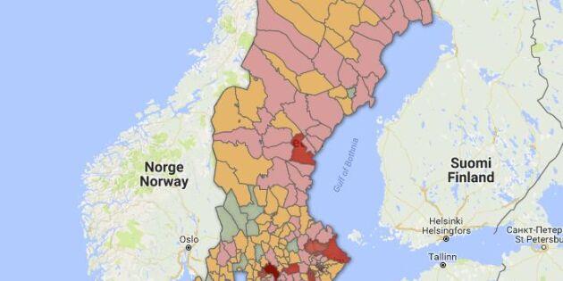 KARTA: Så mycket åkermark har försvunnit i din kommun