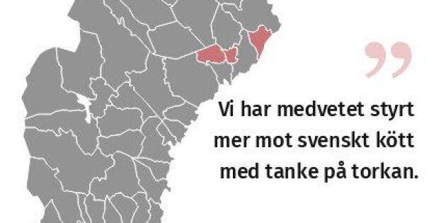 Så mycket svenskt kött köper kommunerna in
