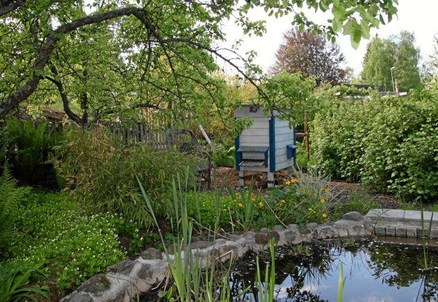 Klassisk gammaldags trågkupa vid en trädgårdsdamm. Perfekt placering.