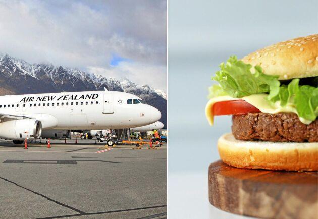 Hamburgaren på bilden är en arkivbild och inte den vegoburgare som flygbolaget serverar.
